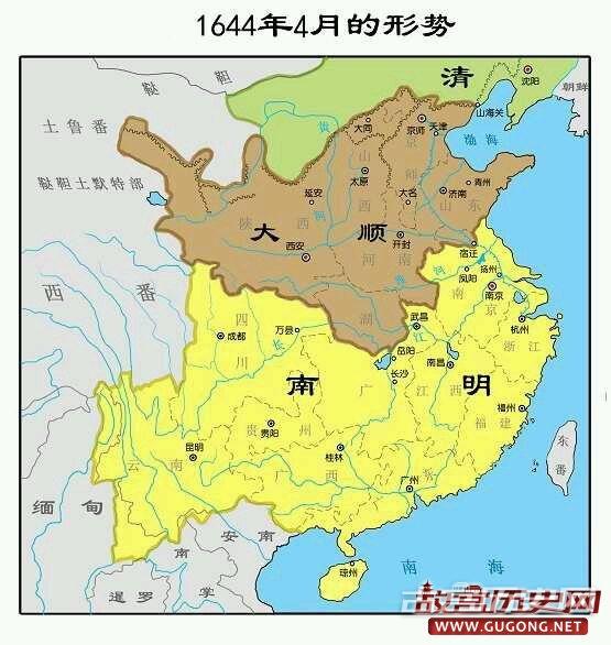 明朝地图:南明疆域变化图:1644年4月局势