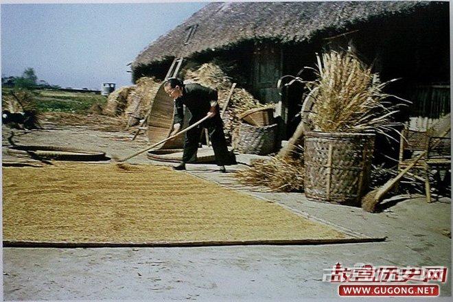 40年代四川农村,美国飞虎队队员拍摄