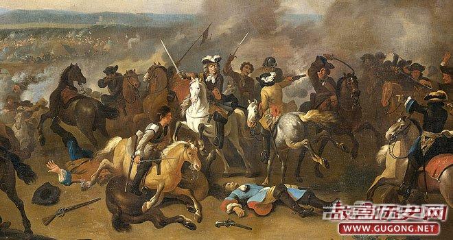 光荣革命后,信奉天主教的威廉二世(即威廉七世)与信奉新教的威廉三世争夺王位。图为在爱尔兰发生的博因河战役