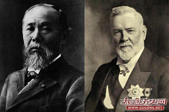 """左:日本政治家伊藤博文;右:英国传教士李提摩太。此二人深度参与了戊戌年康党的""""中日合邦""""计划"""